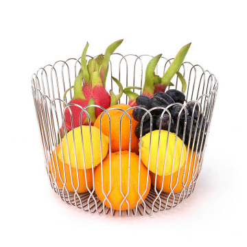 Wholesale OEM desktop art metal storage bowl wire basket stainless steel tier mesh fruit basket